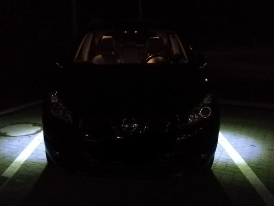 Bodenbeleuchtung an den Außenspiegeln bei Nacht